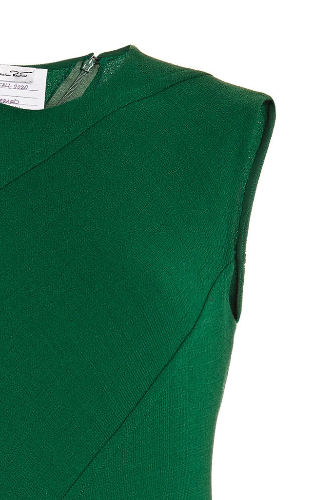 Bias-Cut Wool-Blend Midi Dress