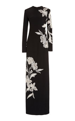 Floral Broderie-Trimmed Gown