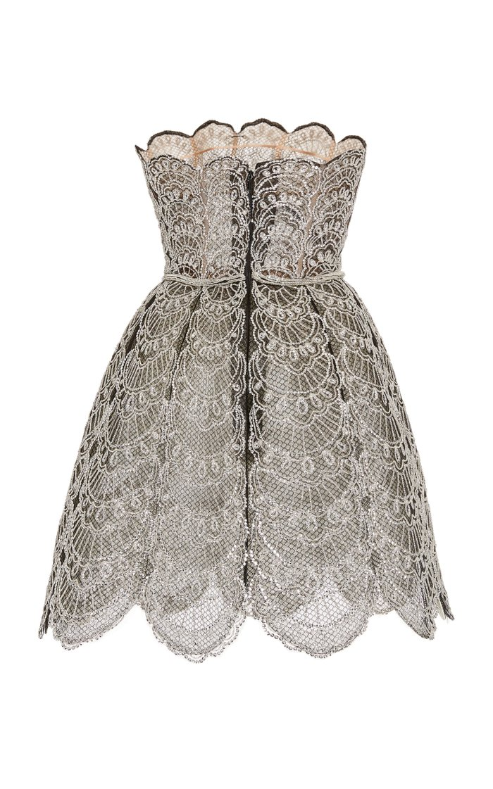 Broderie Anglaise Strapless Mini Dress