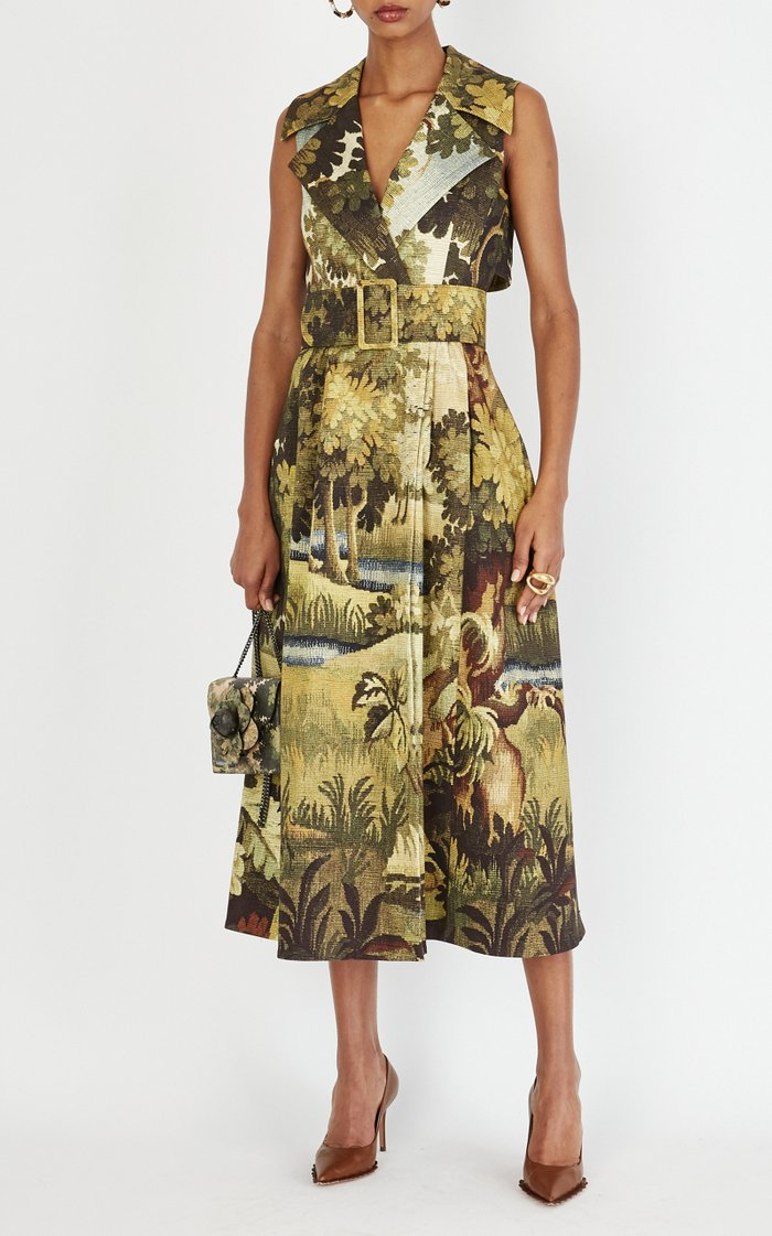 Belted Printed Cotton Midi Trench Dress