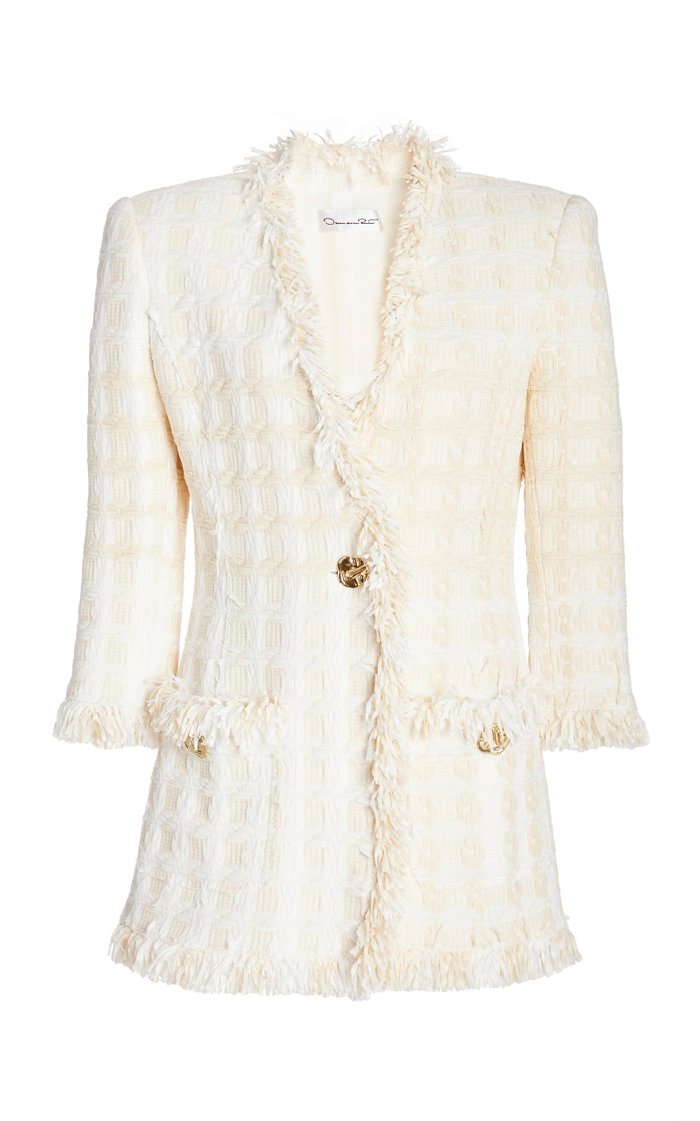 Fringed Cotton-Blend Tweed Blazer