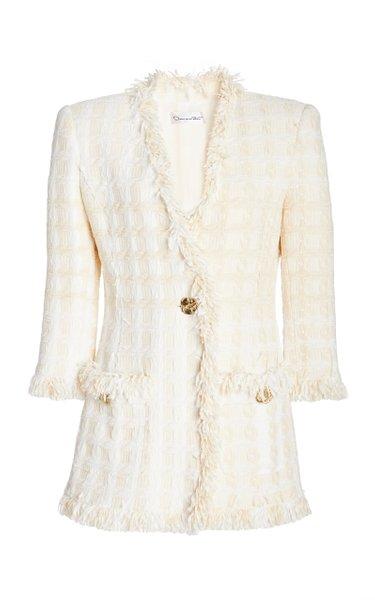Fringed Cotton-Blend Tweed Blazer