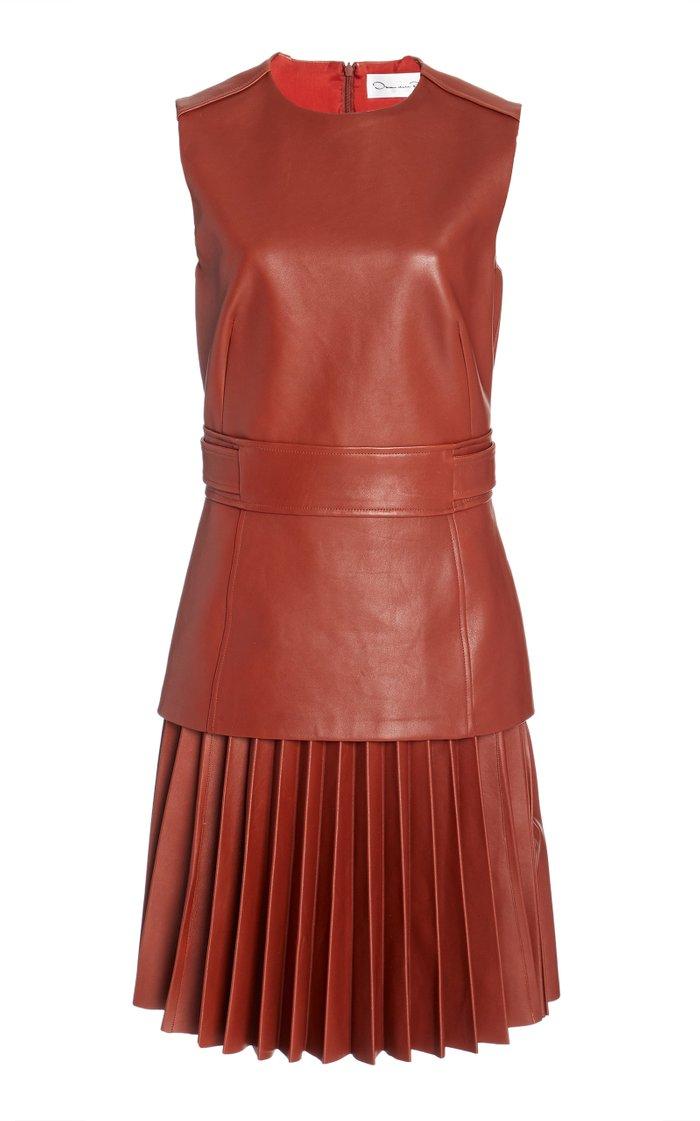 Pleated Drop-Waist Leather Dress