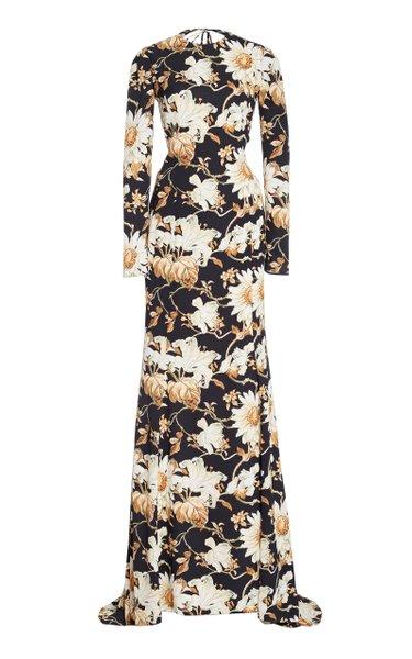 Floral-Print Crepe Maxi Gown