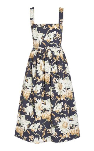 Flora-Print Pleated Cotton-Blend Dress