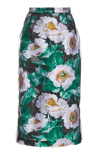 Floral Jacquard Pencil Skirt