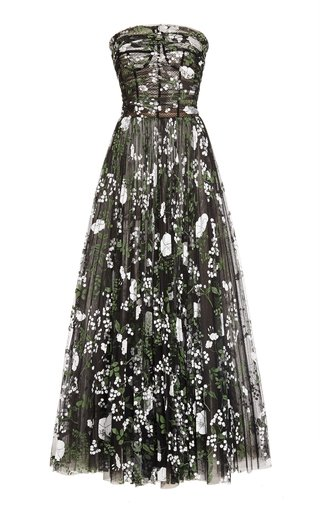 Printed Organza Maxi Dress
