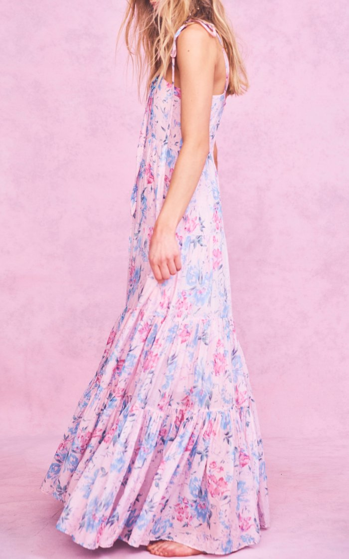 Burrows Floral-Print Cotton-Blend Maxi Dress