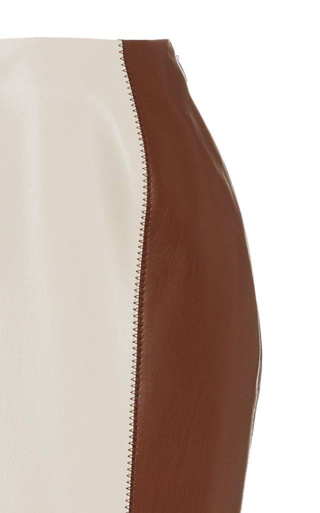 Artem Color-Block Vegan Leather Midi Skirt