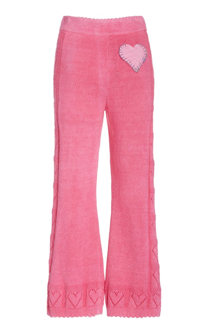 Toro Pointelle-Knit Cotton-Terry Flared Pants