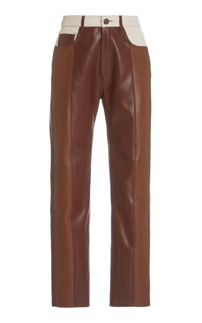 Vinni Color-Block Vegan Leather Straight-Leg Pants