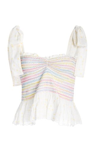 Bucky Smocked Floral-Print Cotton-Voile Top