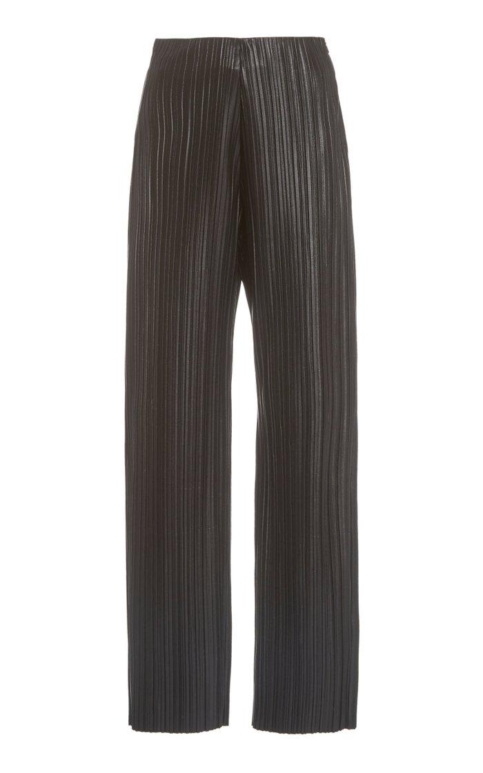 Char Plissé Vegan Leather Wide-Leg Pants