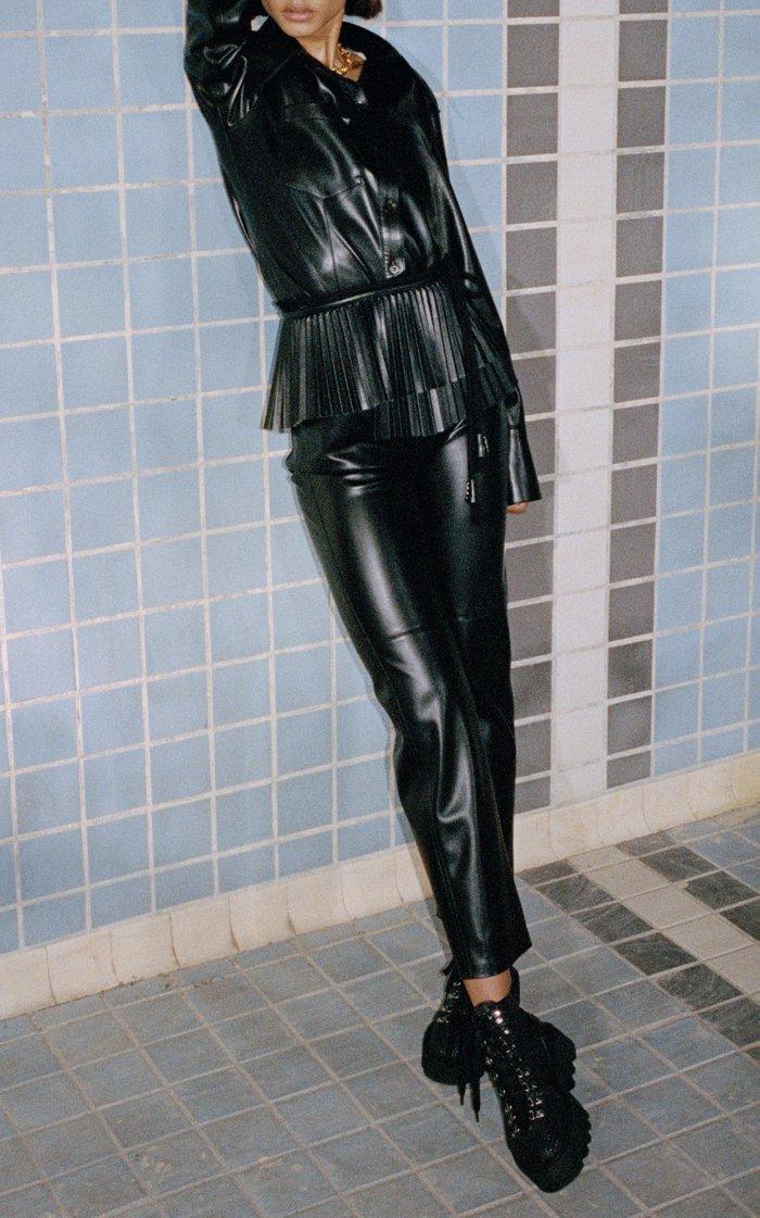 Ashton Belted Vegan Leather Jumpsuit