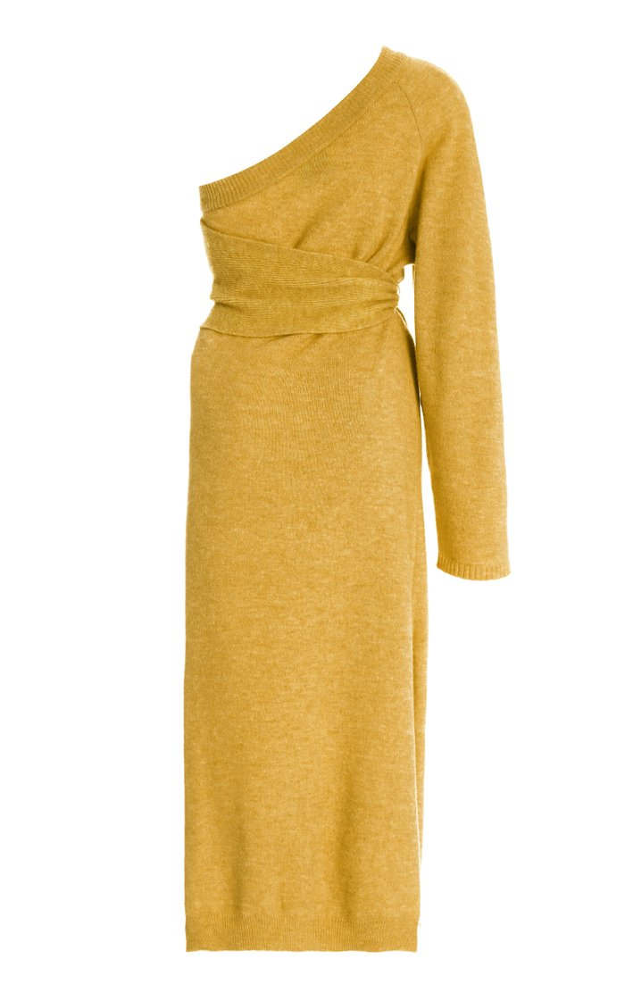 Cedro Belted One-Shoulder Knitted Midi Dress