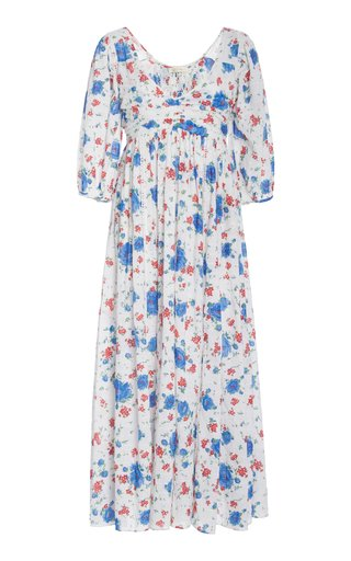 Roslyn Floral-Print Cotton-Chiffon Maxi Dress