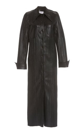 Lee Plissé Vegan Leather Maxi Dress
