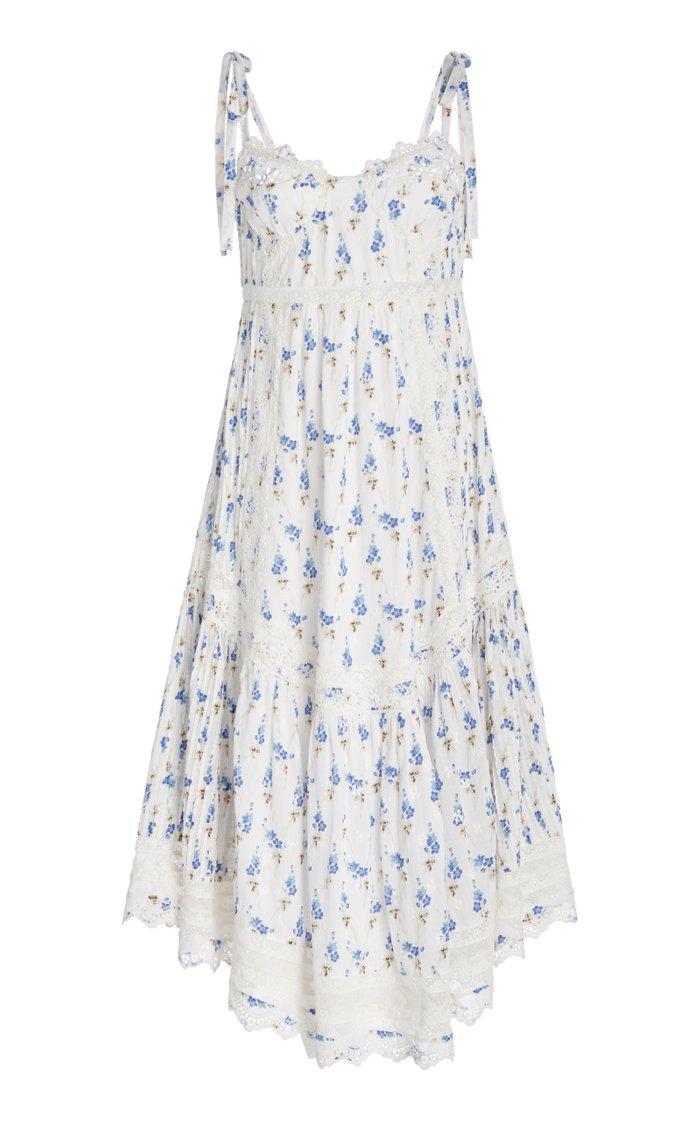 Antonella Lace-Trimmed Floral-Print Cotton-Voile Midi Dress