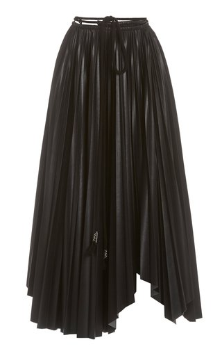 Beeja Pleated Vegan Leather Maxi Skirt