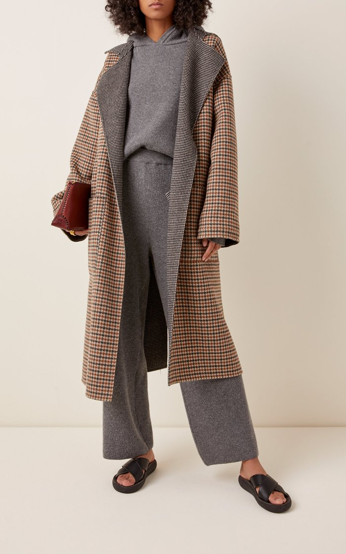 Alamo Oversized Reversible Checked Wool-Blend Coat