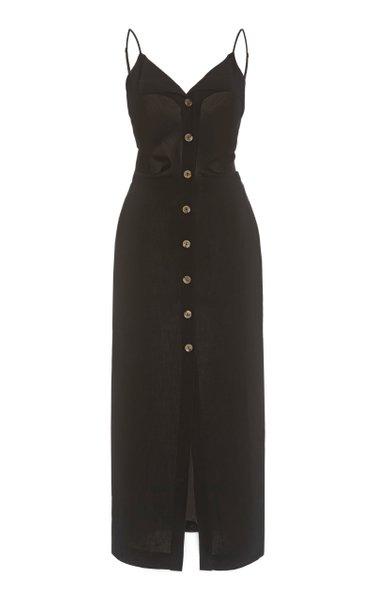 Paz Crepe Buttoned Midi Dress