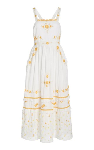 Asher Floral-Embroidered Cotton Maxi Dress