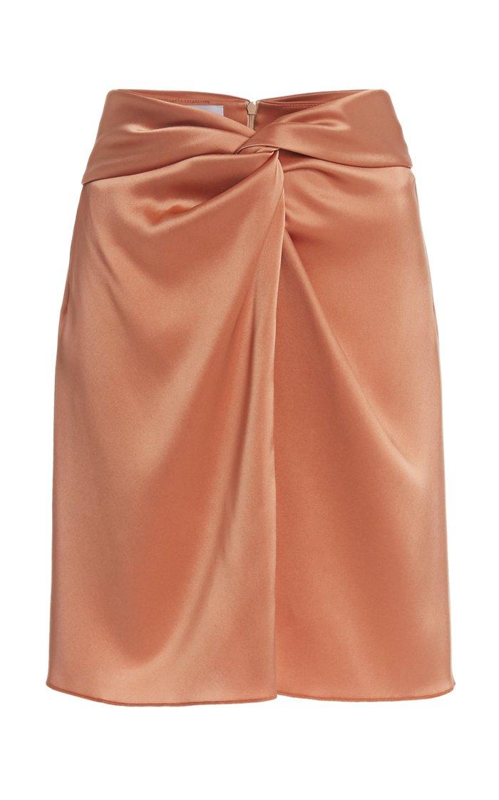 Milo Draped Satin Mini Skirt