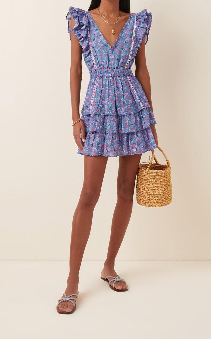 Bennett Tiered Floral-Print Cotton-Georgette Mini Dress
