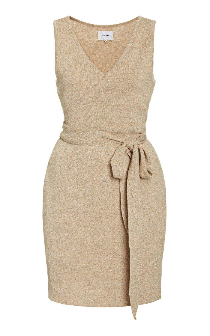 Callie Cotton-Blend Mini Wrap Dress