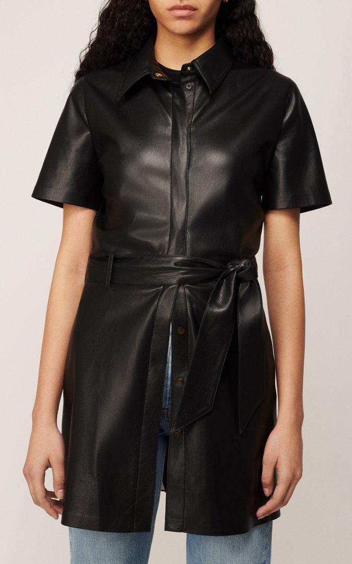 Halli Belted Vegan Leather Mini Dress