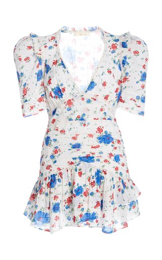Arlo Ruched Floral-Print Cotton-Voile Mini Dress
