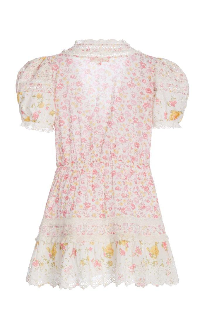Belen Patchwork Floral Cotton Wrap Mini Dress