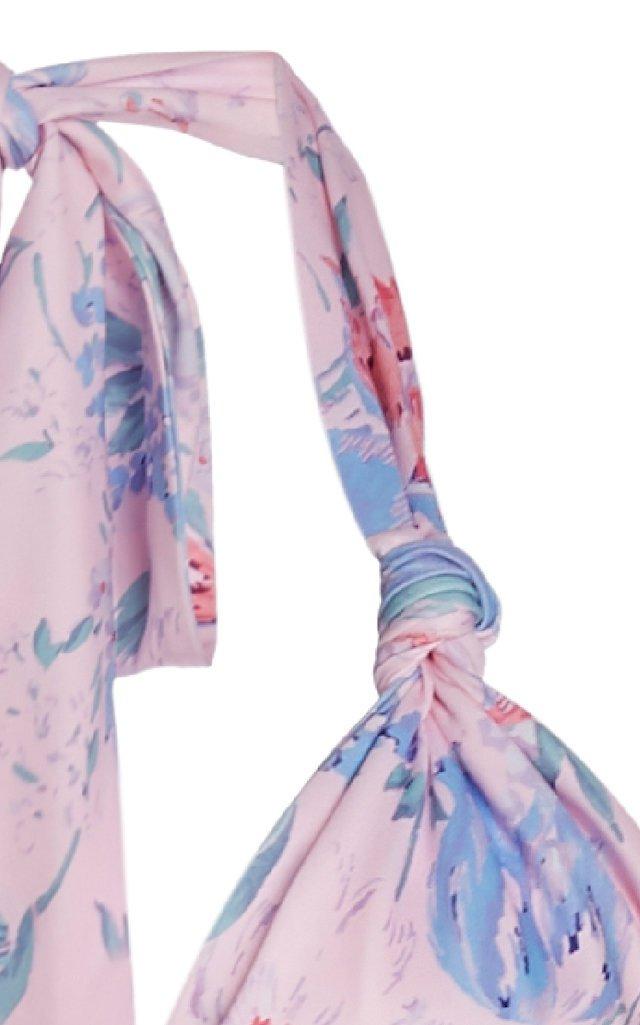 Abelia Ruched Halterneck Floral-Print Swimsuit