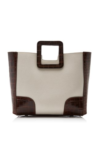 Shirley Leather-Trimmed Canvas Tote
