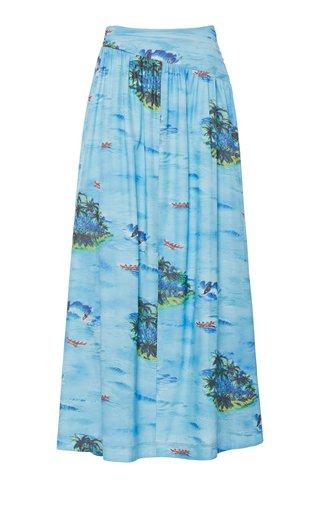 Kona Printed Rayon Maxi Skirt