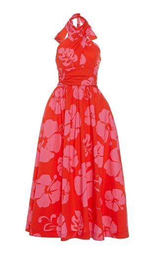Moana Printed Cotton-Poplin Halter Dress
