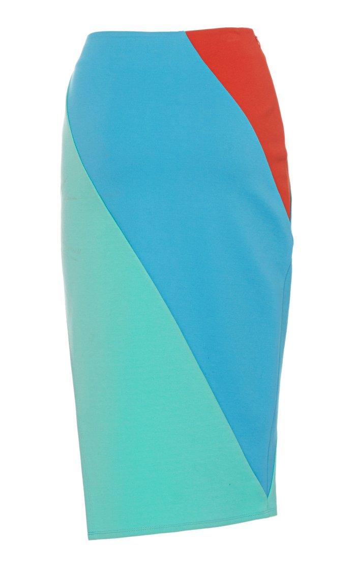 Russell Asymmetrical Split Pontè Midi Skirt