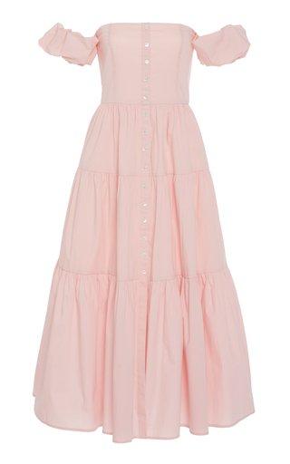 Elio Tiered Cotton-Poplin Off-the-Shoulder Dress