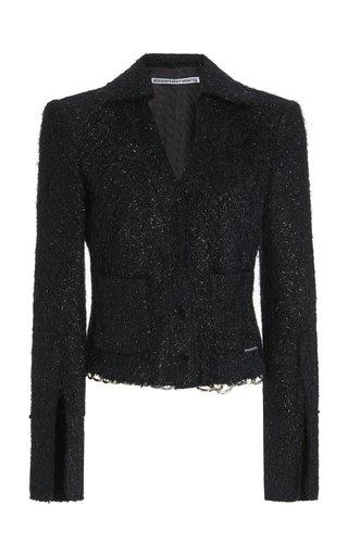 Chain-Detailed Tweed Shirt Jacket