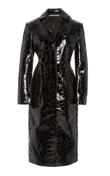 Croc-Effect Patent Leather Coat