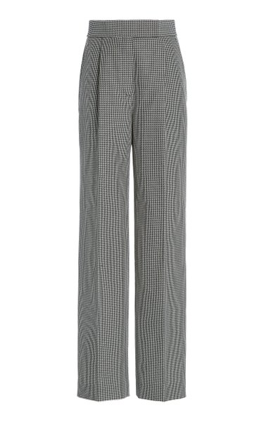 Pleated High-Rise Houndstooth Wool-Blend Trousers