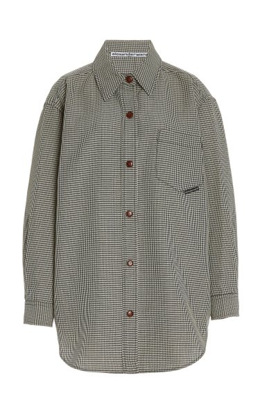 Oversized Houndstooth Wool-Blend Shirt Jacket