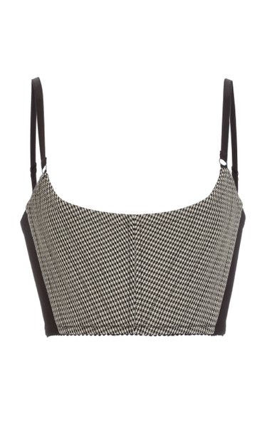 Houndstooth Wool-Blend Corseted Bra Top