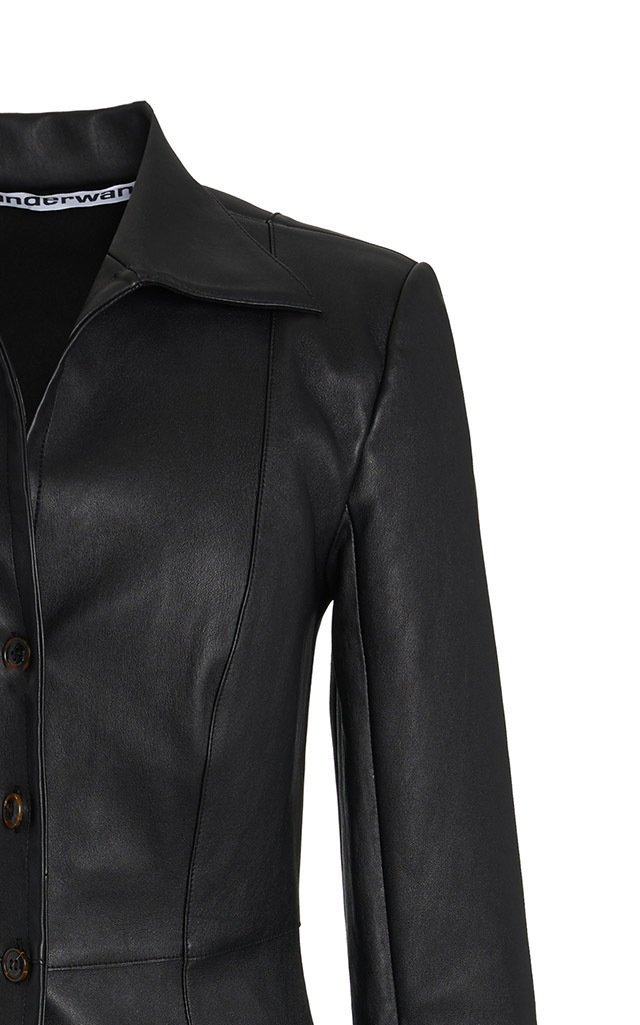 Fitted Leather Shirt Jacket