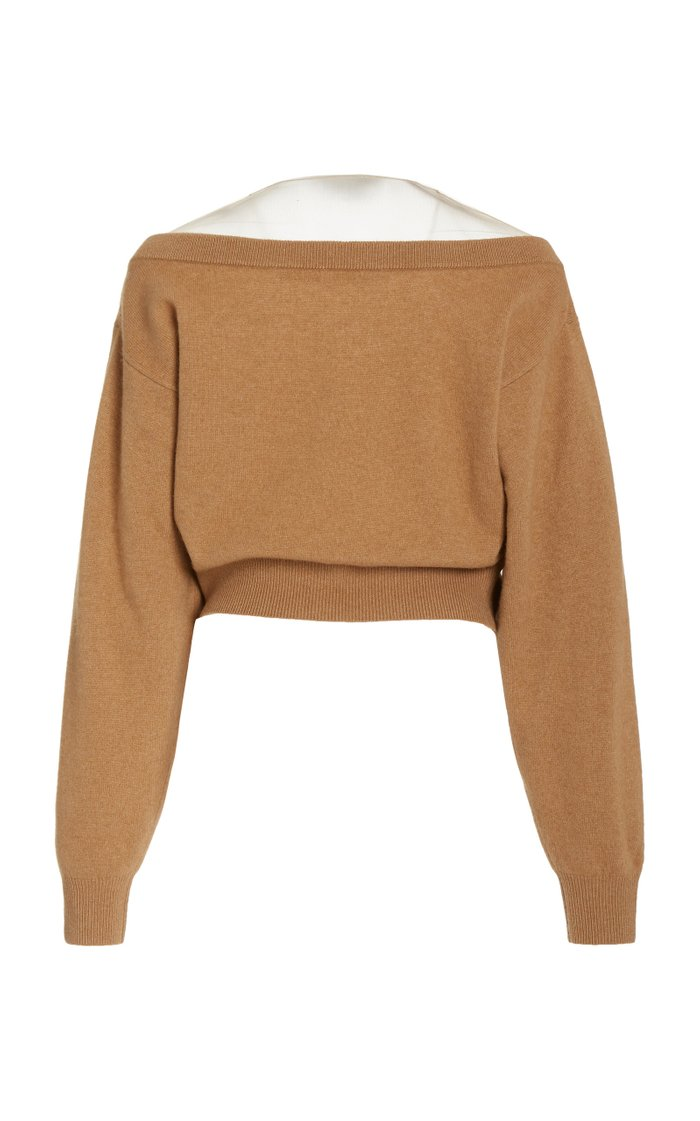 Illusion-Neck Wool-Blend Cropped Sweater