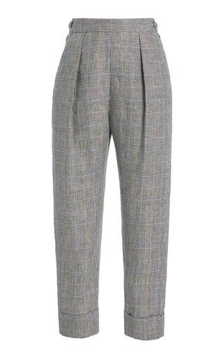 Westside Pleated Plaid Linen Cuffed Pants