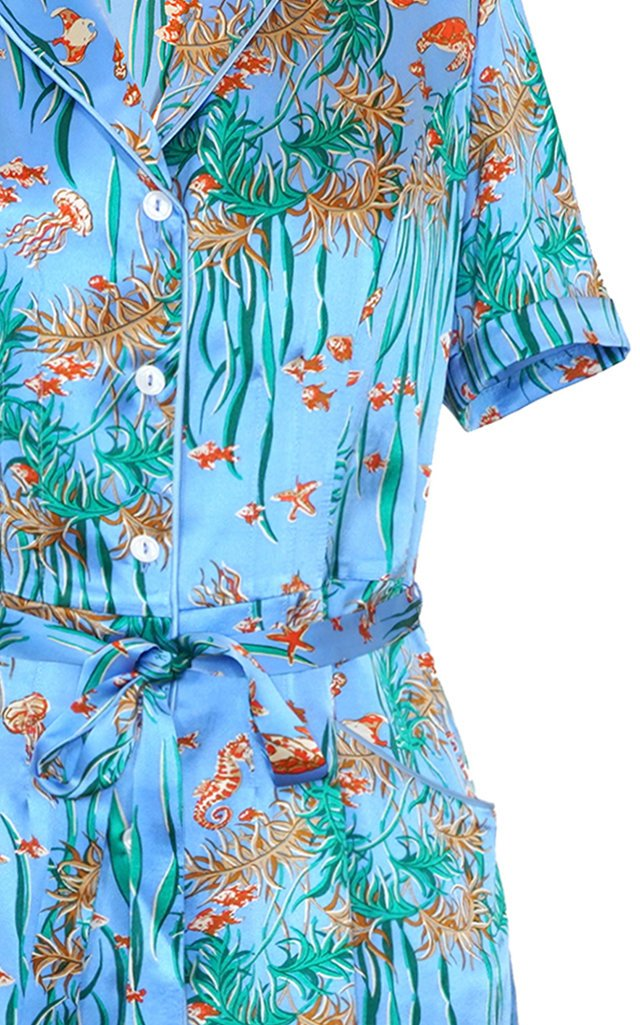 Maria Belted Printed Silk Midi Shirt Dress