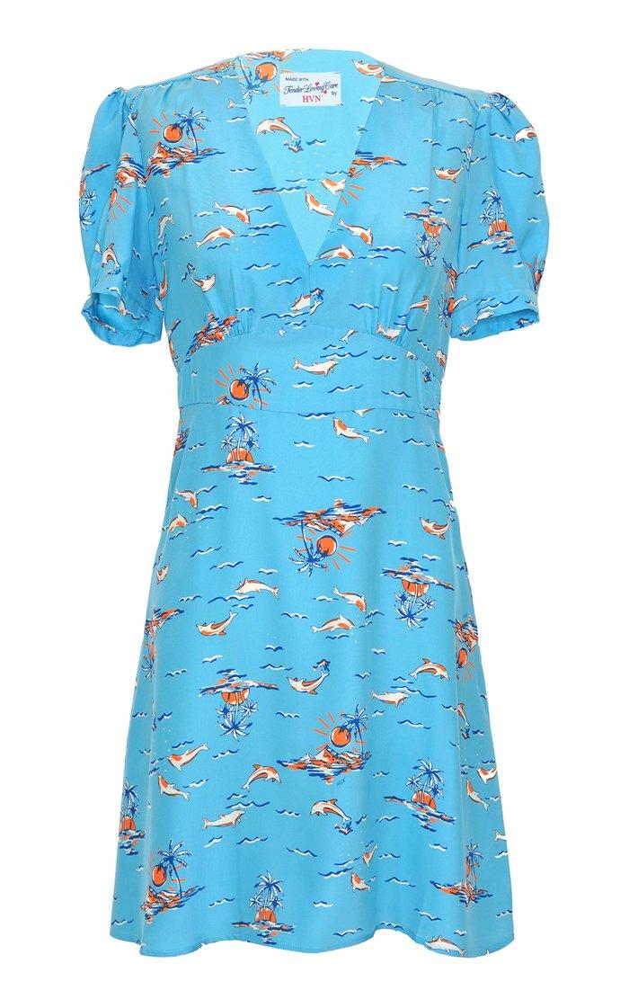 Paula Printed Silk Mini Dress