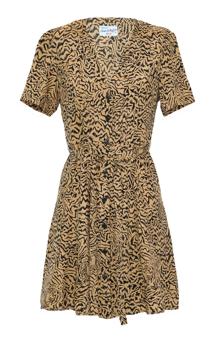 Rosemary Tiger-Print Silk Mini Dress