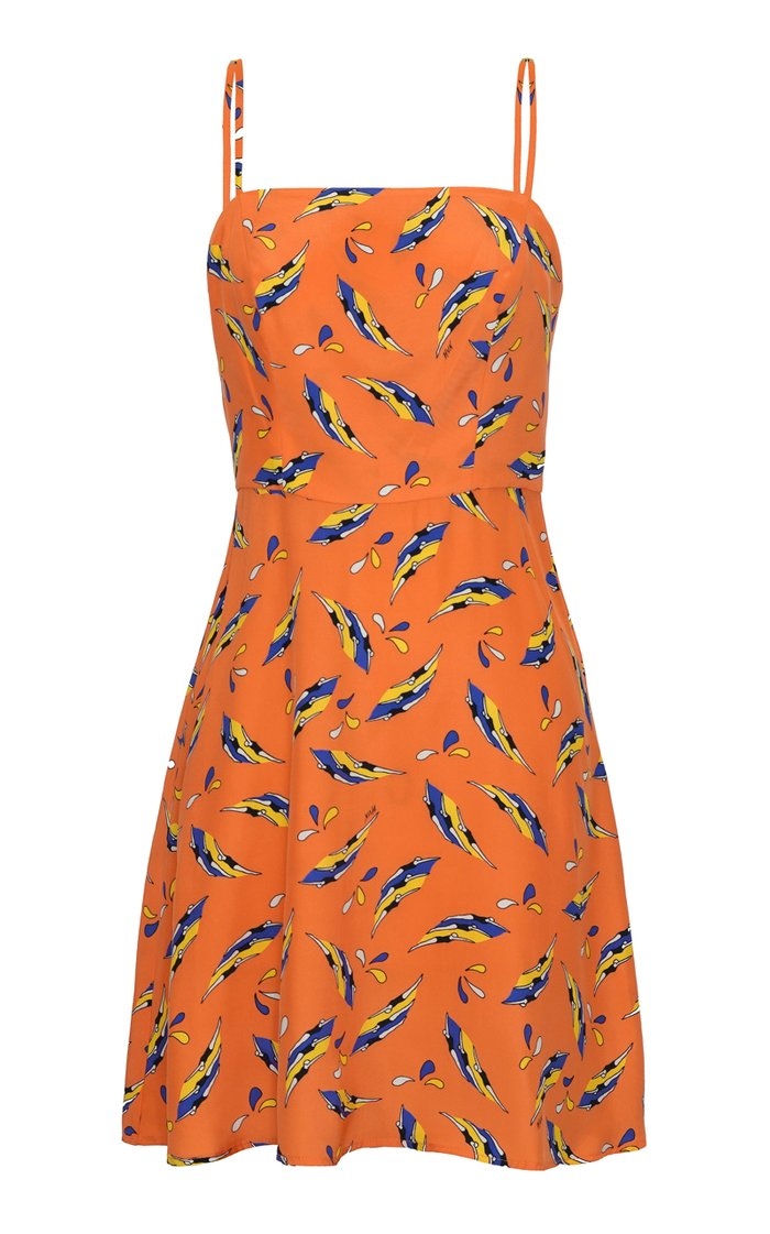 Nora Printed Bias-Cut Silk Mini Dress